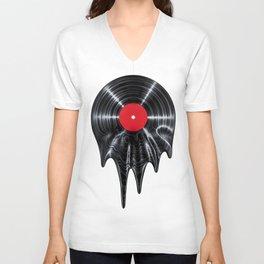Melting vinyl / 3D render of vinyl record melting Unisex V-Neck