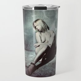 Nude and Beautiful woman bound with an old iron chain Travel Mug