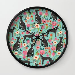 Italian Greyhound pet friendly pet portraits dog art custom dog breeds floral dog pattern Wall Clock