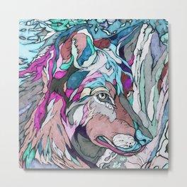 Colorful Wolf Metal Print