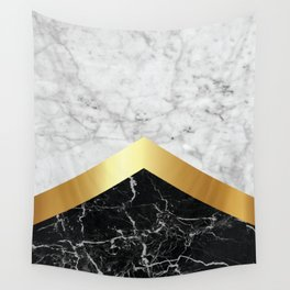 Arrows - White Marble, Gold & Black Granite #147 Wall Tapestry