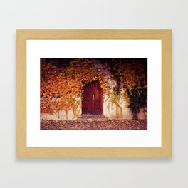 Wooden Door in Autumn Framed Art Print