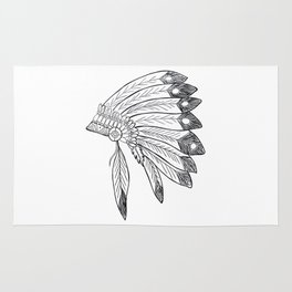 Native american indian headdress illustration Rug