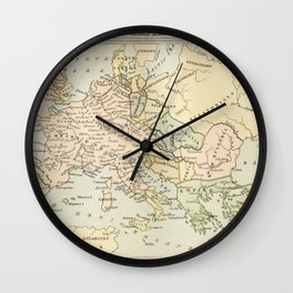 Old Map of Europe under the Empire of Charlemagne Wall Clock