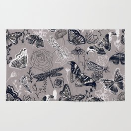 Dragonflies, Butterflies and Moths With Plants on Grey Rug