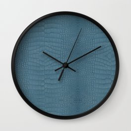 Turquoise Alligator Leather Print Wall Clock