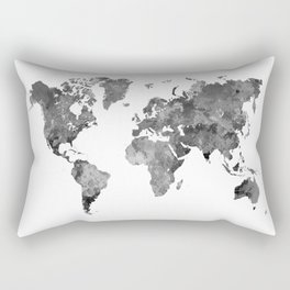 World map in watercolor gray Rectangular Pillow