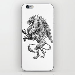 Dark Side Heraldic Griffin | Pencil Art iPhone Skin