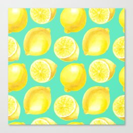 Watercolor lemons pattern Canvas Print