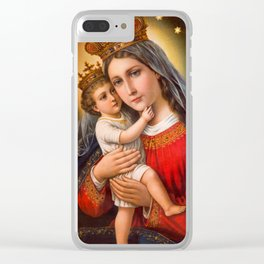 The care of mother's love in oil painting. Clear iPhone Case