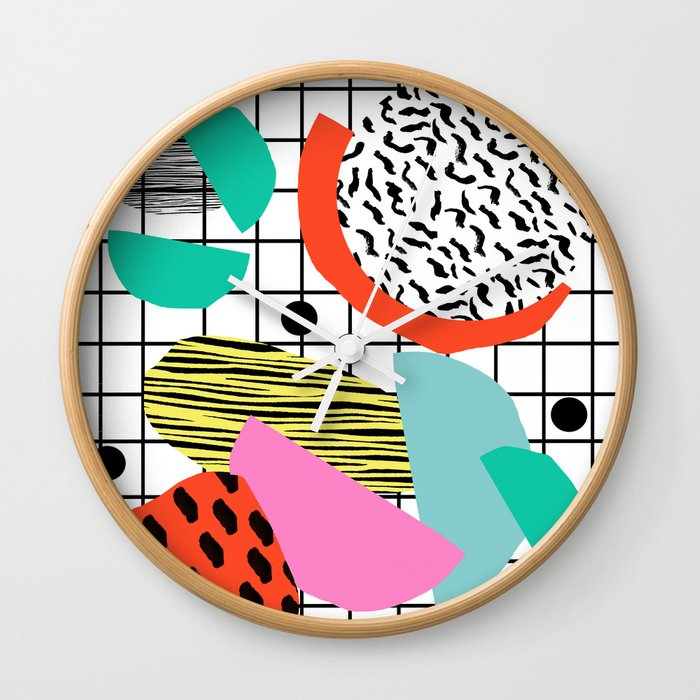 Posse - 1980's style throwback retro neon grid pattern shapes 80's memphis  design neon pop art Wall Clock