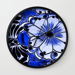 Indigo Blue Flower Wall Clock