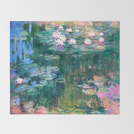water lilies : Monet Throw Blanket