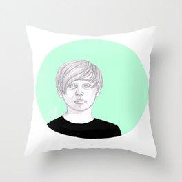 Green Circle Throw Pillow