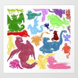 Many Colorful Dragons Art Print