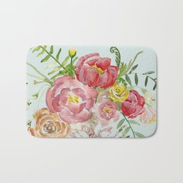 Bouquet of Spring Flowers Light Aqua Bath Mat