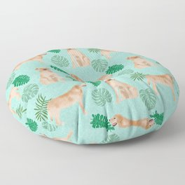 Yellow Lab summer monstera tropical pure breed dog gifts Floor Pillow