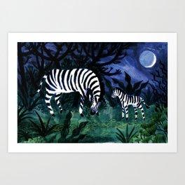 Zebra and its child Art Print