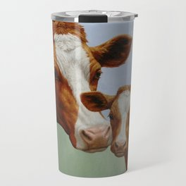 Guernsey Cow and Cute Calf Travel Mug