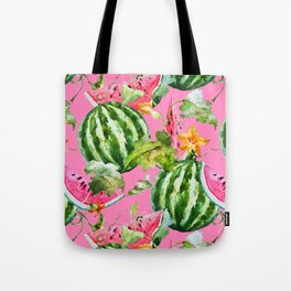 Watermelon Pattern with Pink Background Tote Bag
