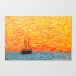 abstract Sailing Vessel in Calm Resta Canvas Print