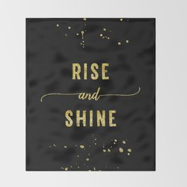 TEXT ART GOLD Rise and shine Throw Blanket