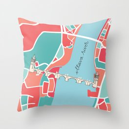 Prague Minimal Map Throw Pillow