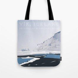 Vik Reynisfjara Black Sand Beach, Iceland Travel Poster Tote Bag