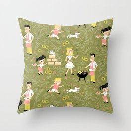 Summer Family Cookout Throw Pillow