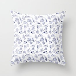 loon pattern Throw Pillow