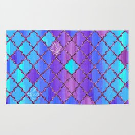 Moroccan Tile Pattern In Purple And Aqua Blue Rug