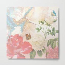 Hummingbird & Flowers Nature Collage Metal Print