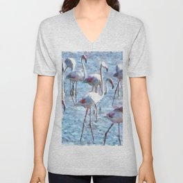 Stand Out In the Crowd Flamingo Watercolor Unisex V-Neck