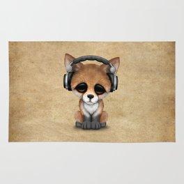 Cute Red Fox Cub Dj Wearing Headphones Rug