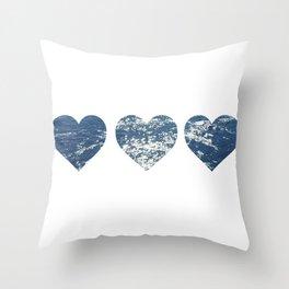 Ocean Hearts Throw Pillow