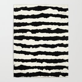 Tribal Stripes Black on Cream Poster