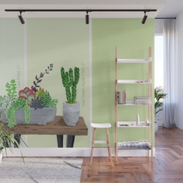 Cacti and Succulents on Greens Wall Mural