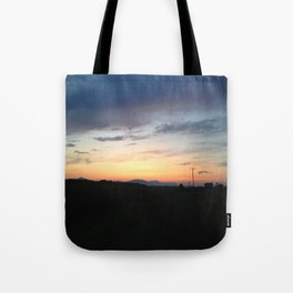 Wire Road sunset Tote Bag