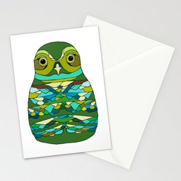 Green Owl Stationery Cards