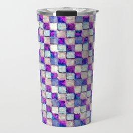 Purple Blue and Beige Patchwork Travel Mug