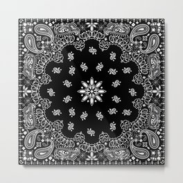 black and white bandana pattern Metal Print