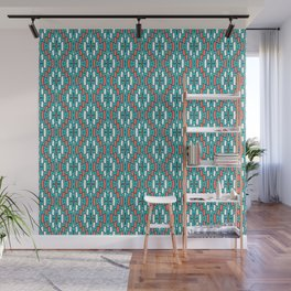 Bohemian Diamond Pattern in Turquoise, Coral Wall Mural