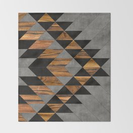 Urban Tribal Pattern No.10 - Aztec - Concrete and Wood Throw Blanket