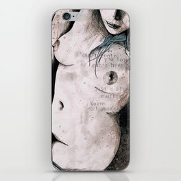 Rotten Apple: Turquoise (nude topless girl, erotic graffiti portrait) iPhone Skin