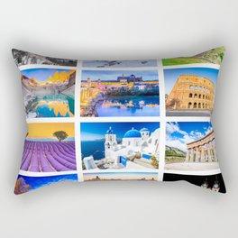 World travel collage Rectangular Pillow