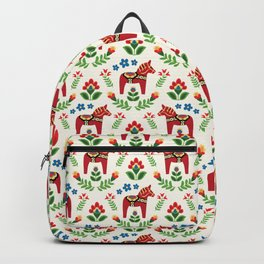 Swedish Dala Horses Red Backpack