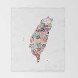 Taiwan map portrait Throw Blanket