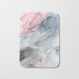 Pastel Blush, Grey and Blue Ink Clouds Painting Bath Mat