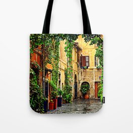 Vintage street in Rome, after Rain Tote Bag