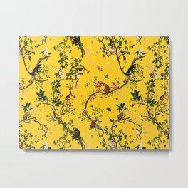 Monkey World Yellow Metal Print